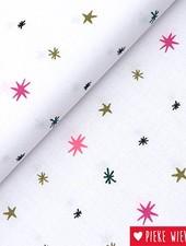 Rico design Cotton Stars white - fluo - gold