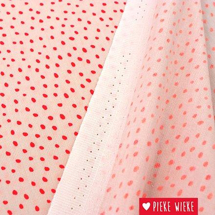 Rico design Cotton Pink - fluorescent pink dots