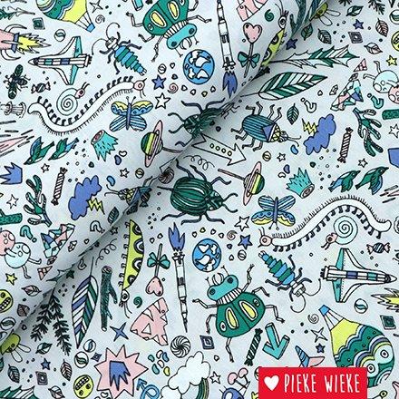 Rico design Katoen Insecten  Grijs