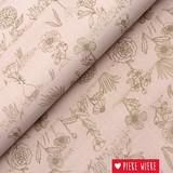 Rico design Katoen Bloemen poeder roze metallic goud