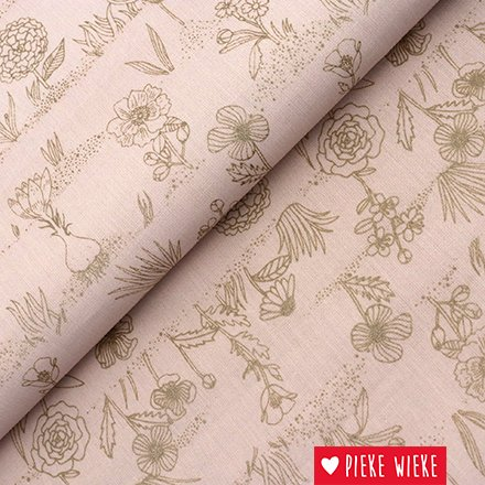 Rico design Cotton flowers powder pink metallic gold