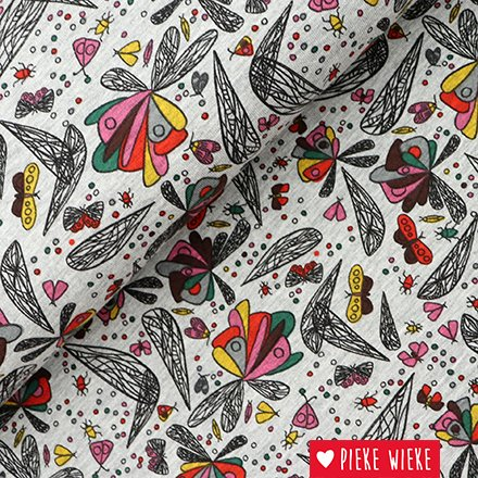 Jersey Gray melange Abstract butterflies