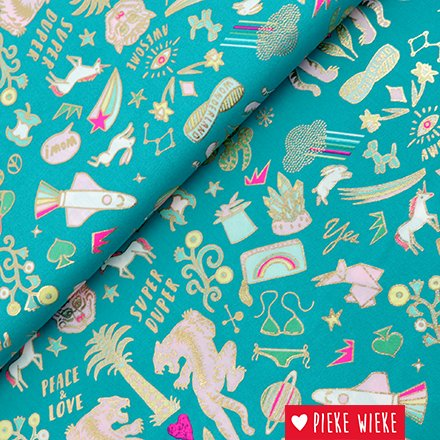 Rico design Cotton Unicorns Tigers Green - hotfoil