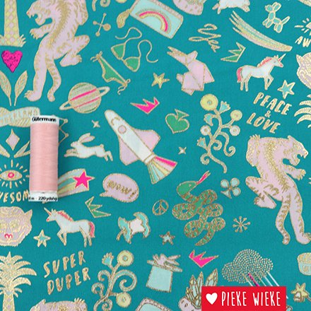 Rico design Cotton fabric  Wonderland Tigers Green - hotfoil