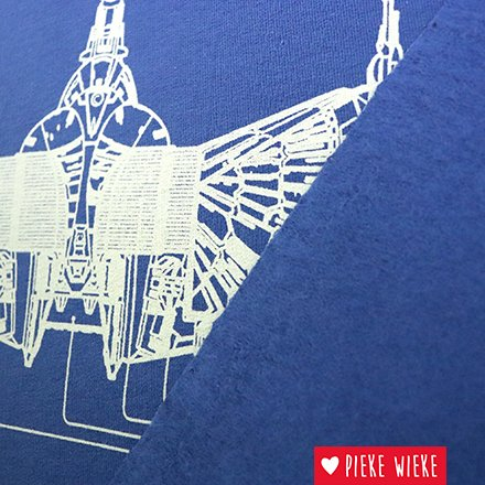 Sweater fabric with cool blueprints of spaceships