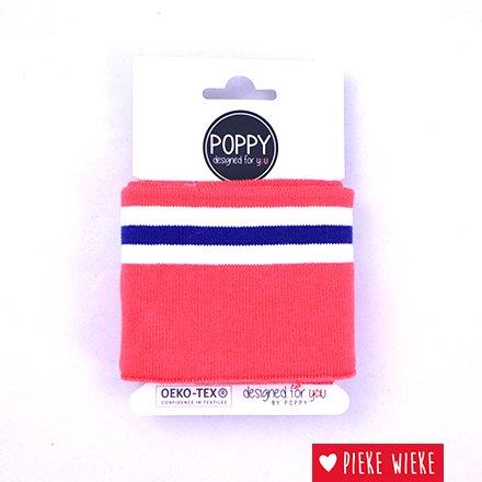 Poppy Cuff Gestreepte mouwboord Koraalroze - wit - blauw (135cm)