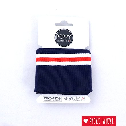 Poppy Cuff mouwboord Navy - Wit - Rood (135cm)