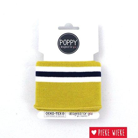 Poppy Cuff mouwboord Mosterdgeel - Wit - Blauw (135cm)