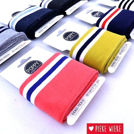 Poppy Cuff sleeve White - 3 Black Stripes  (135cm)