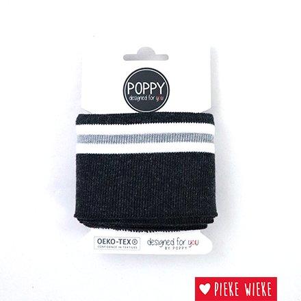 Poppy Cuff sleeve Darkblue - Striped - White - Gray (135cm)