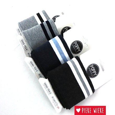 Poppy Cuff sleeve Light Gray - Striped - Navy  (135cm)