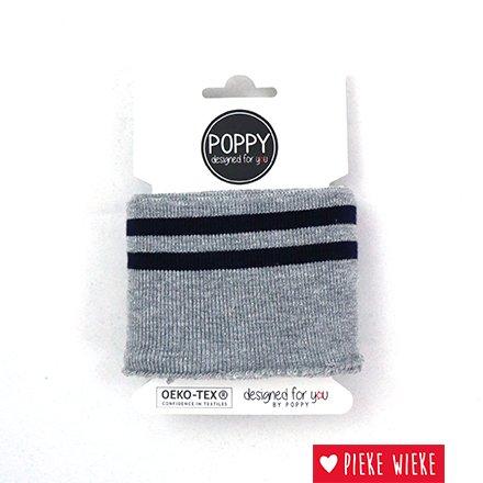 Poppy Cuff Sleeve Light Gray - Striped - Navy