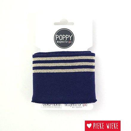 Poppy Cuff sleeve  Navy - Lurex Gold  (135cm)