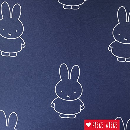 Sweater fabric with beautiful Miffy print. Illustration by Dick Bruna.