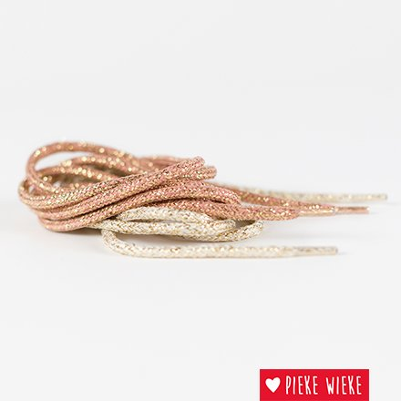See You at Six Round glitter shoelace Natural white - gold
