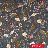 See You at Six Cotton gabardine Flower field Night blue