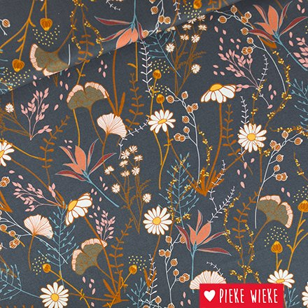 See You at Six Cotton gabardine twill Flower field Night blue