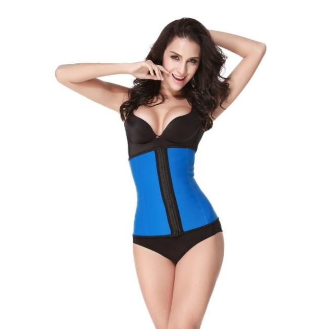 Latex waist trainer corset - blauw