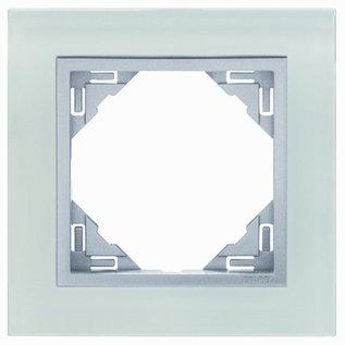 Efapel Crystal afdekr. 1 voudig wit glas/alu