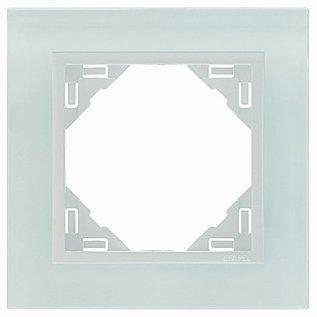 Efapel Crystal afdekr. 1 voudig wit glas/wit ice
