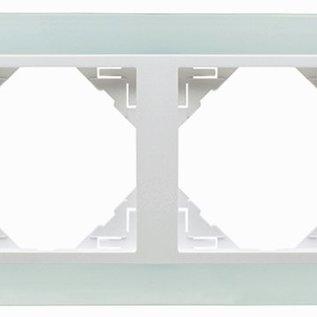Efapel Crystal afdekr. 2 voudig wit glas/wit ice