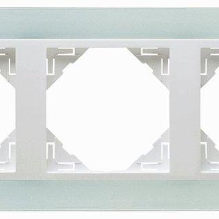 Efapel Crystal afdekr. 3 voudig wit glas/wit ice