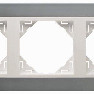 Efapel Metallo afdekr. 3 voudig titanium/parel