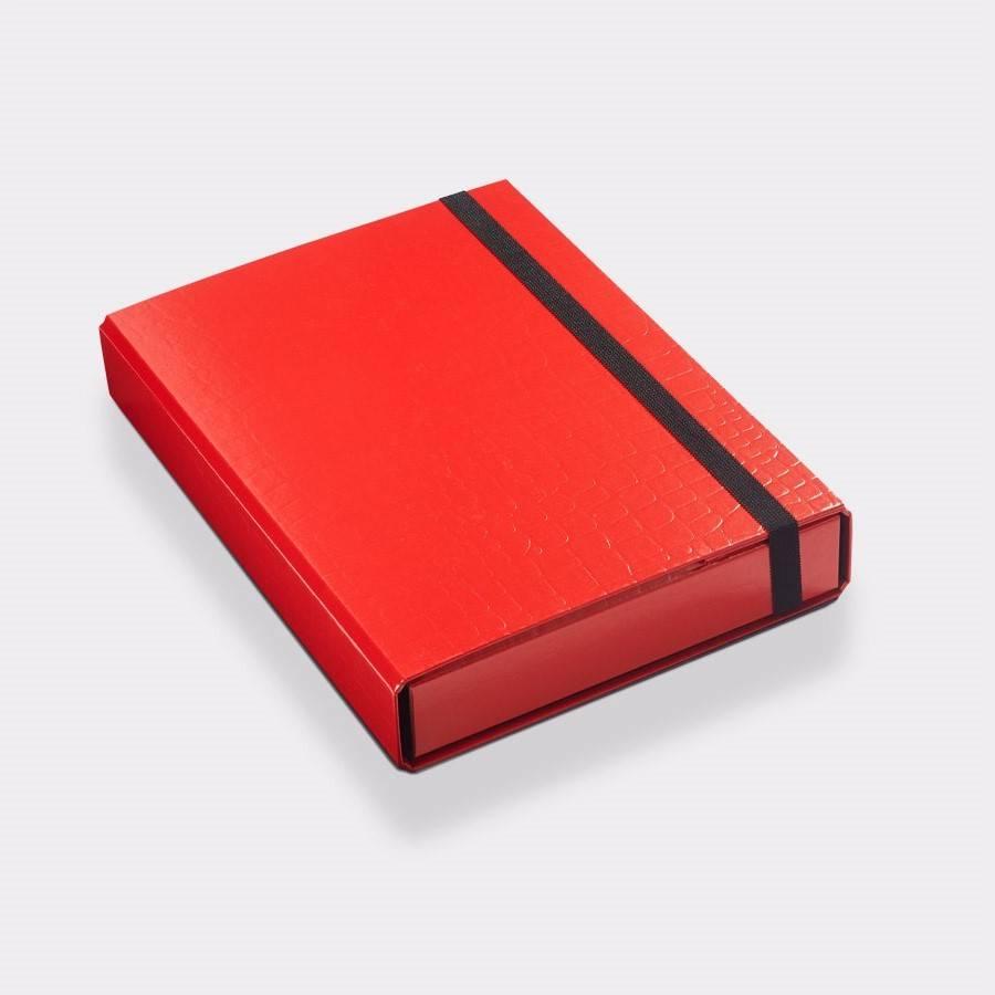 Opbergbox A4 50 mm 'croco' print rood