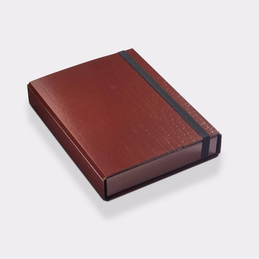 Storage box A4 50mm 'croco' Brown