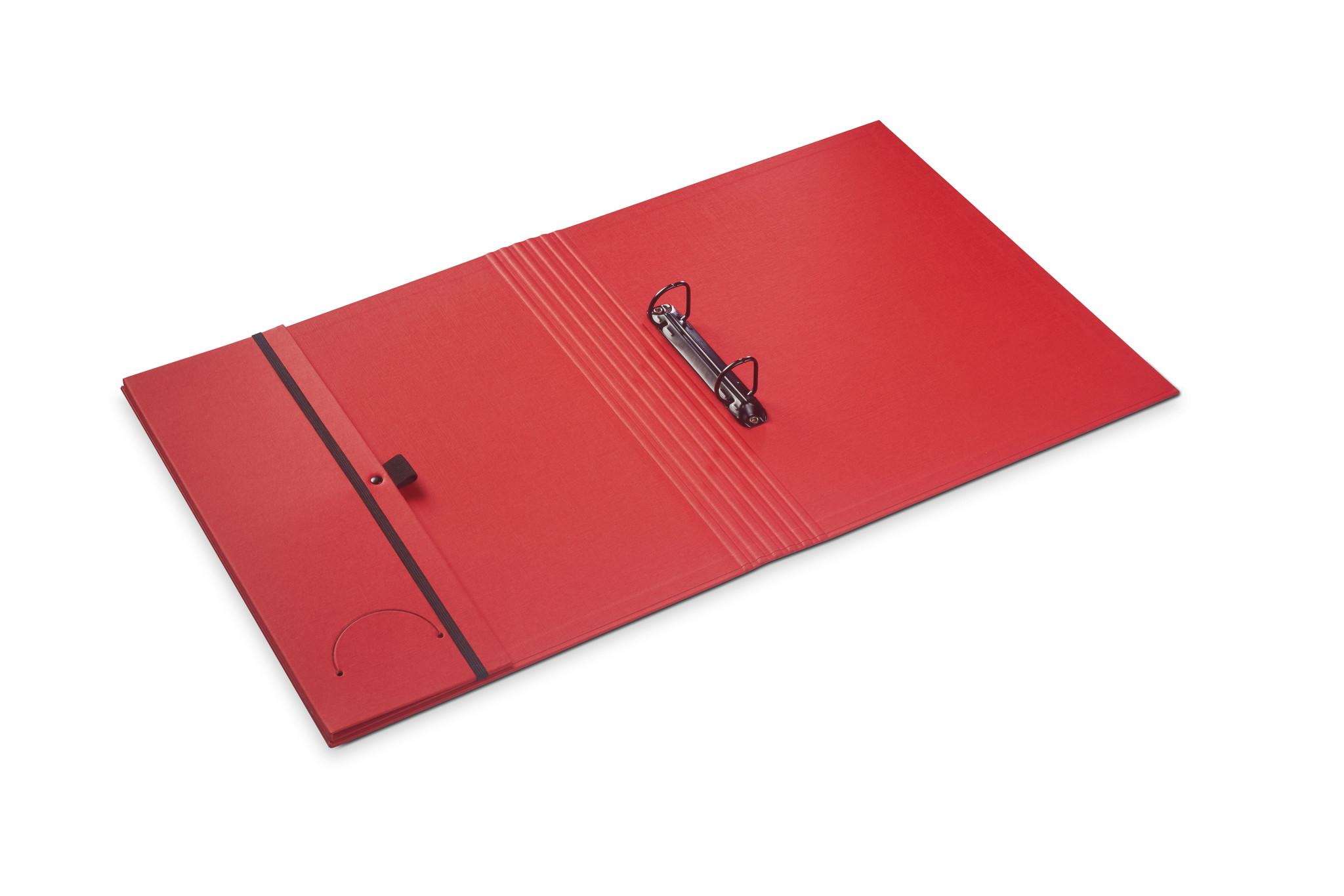 Luxury binder fine linen bright red