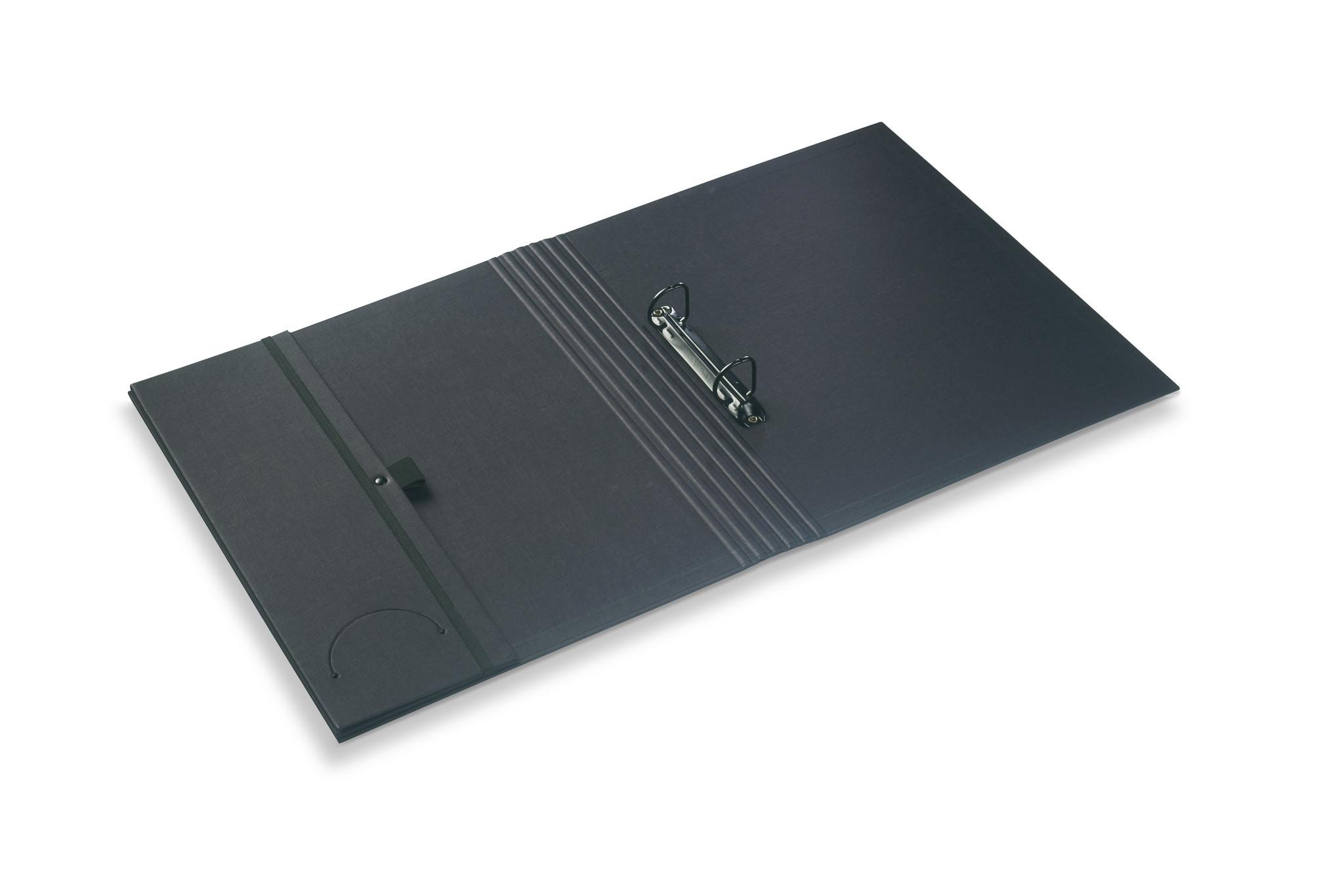 Luxury binder fine linen black