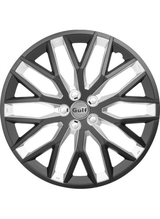 Set 4 stuks wieldoppen 15 inch GT40 Zwart/Zilver