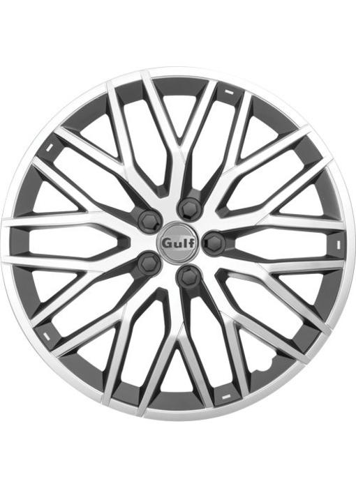 Set 4 stuks wieldoppen 16 inch GT40 Zilver / Zwart
