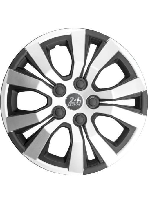 Set 4 stuks wieldoppen 16 inch Mat Zwart / Zilver