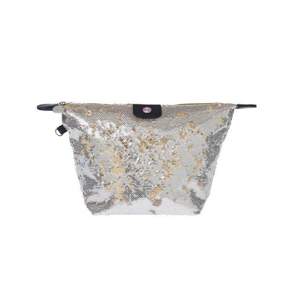 Cosmetics Bag Sequins Gold/Silver