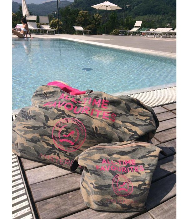 Cosmetics Bag Washed canvas Camouflage