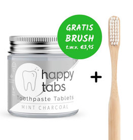 Happy Tabs Tandpasta tabletten Mint Charcoal  + FREE Brush