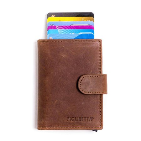 Figuretta Cardprotector leather - Hunter brown
