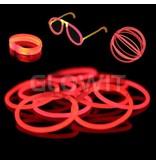 Glowit 100 glow armbanden - 200mm x 5mm - Rood