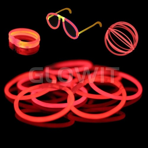 Glowit 100 bracelets lumineux - 200mm x 5mm - Rouge