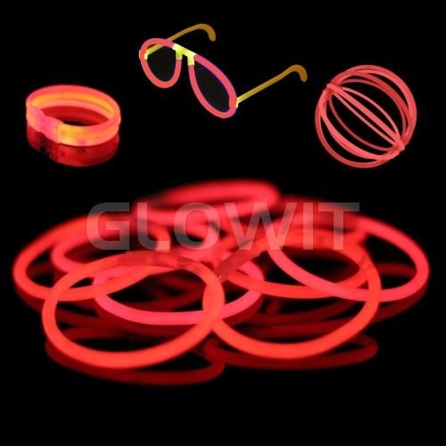 Glowit 100 glow bracelets - 200mm x 5mm - Red