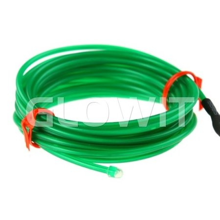 Glowit EL wire - 2m x 2.3mm - 3V (2 x AA batteries) - Green (Invertor included)
