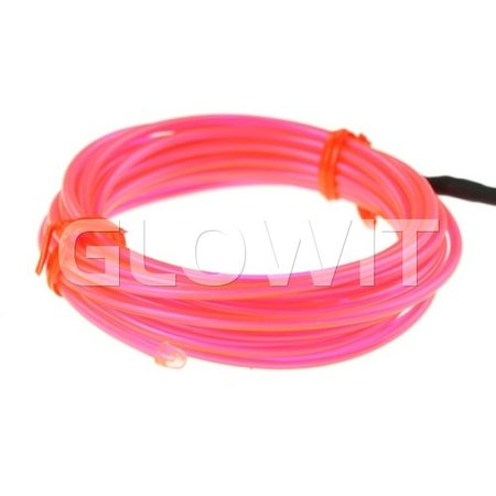 Glowit EL wire - 2m x 2.3mm - 3V (2 x AA batteries) - Pink (Invertor included)