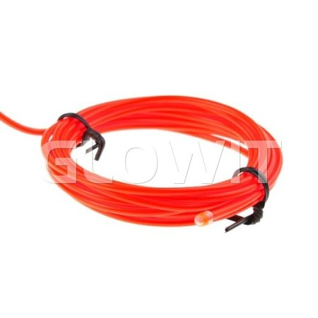 Glowit EL wire - 2m x 2.3mm - 3V (2 x AA batteries) - Red (Invertor included)