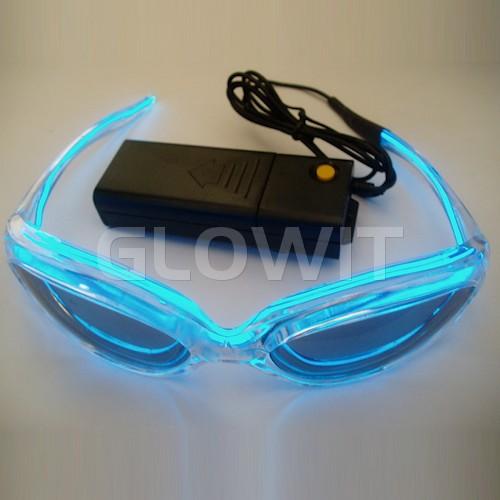 Glowit EL zonnebril - 3v (2 x AA batterijen) - Blauw