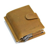 Double  Cardprotector Case & Wallet in leather - Kaki