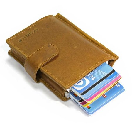 Figuretta Double RFID Protective Case & Wallet in leather - Kaki