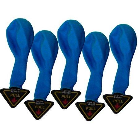 5 verlichte LED Ballonnen - Blauw