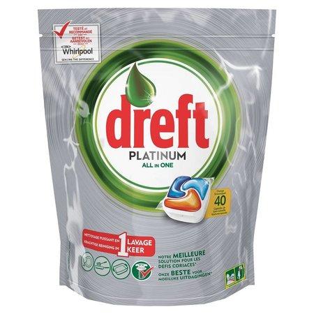 Dreft Platinum Vaatwastabletten All-in-One Orange 40 stuks