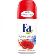 FA DEODORANT DEOROLLER FLORAL PROTECT POPPY BLUEBELL
